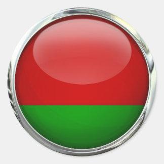 Belarus Flag Round Glass Ball Round Sticker