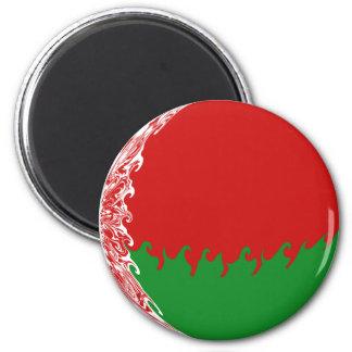 Belarus Gnarly Flag 6 Cm Round Magnet