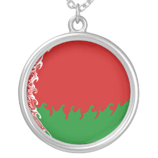 Belarus Gnarly Flag Round Pendant Necklace