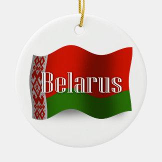Belarus Waving Flag Round Ceramic Decoration