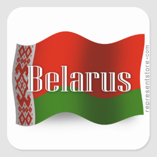 Belarus Waving Flag Square Sticker