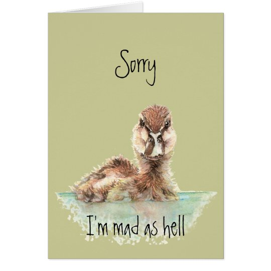 Belated Birthday Funny Angry Duck, Bird Card