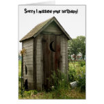 belated birthday, outhouse greeting card