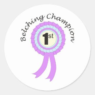 Belching Champion Round Sticker