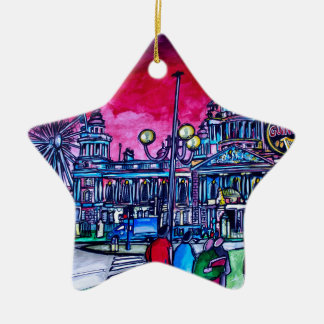 Belfast Alive - Red Sky over City Hall.jpg Ceramic Star Decoration