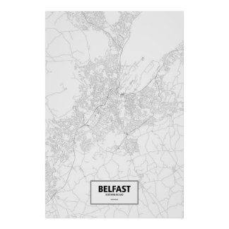 Belfast, Northern Ireland (black on white) Poster