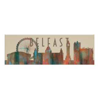 BELFAST, NORTHERN IRELAND SKYLINE POSTER