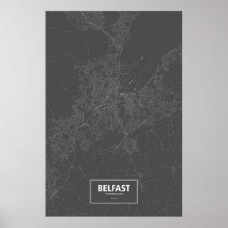 Belfast, Northern Ireland (white on black) Poster