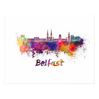Belfast skyline in watercolor postcard