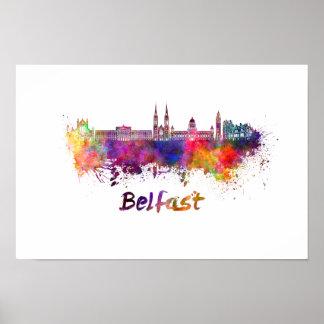 Belfast skyline in watercolor poster