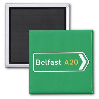 Belfast, UK Road Sign Square Magnet
