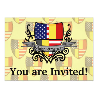 Belgian-American Shield Flag 13 Cm X 18 Cm Invitation Card