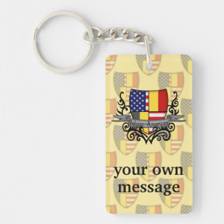 Belgian-American Shield Flag Double-Sided Rectangular Acrylic Key Ring