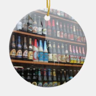 Belgian Beer Display in Ghent shop window Round Ceramic Decoration