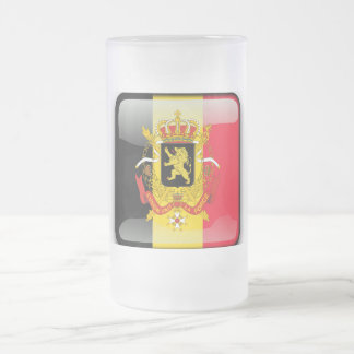 Belgian Coat of arms Frosted Glass Beer Mug