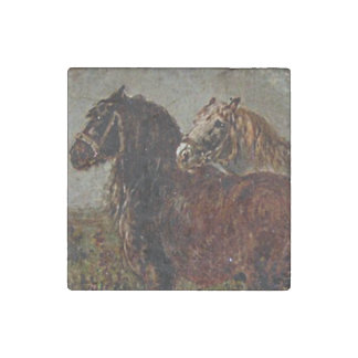 Belgian Draft Brown Gray Horse Classic Painting Stone Magnet