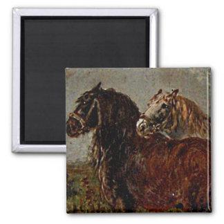 Belgian Draft Brown Gray Horse Classic Painting Fridge Magnet