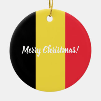 Belgian flag custom Christmas tree ornament