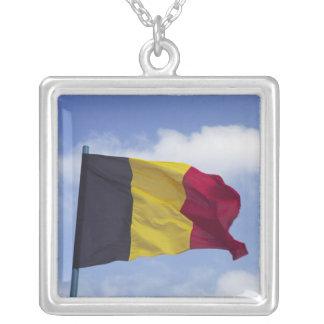 Belgian flag RF) Square Pendant Necklace