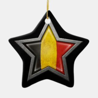 Belgian Flag Star on Black Christmas Ornament