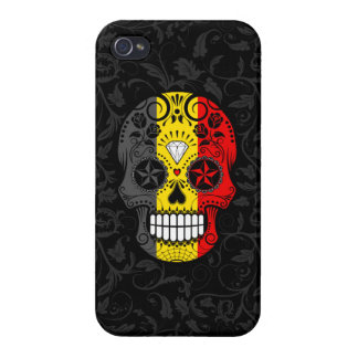 Belgian Flag Sugar Skull with Roses iPhone 4 Covers