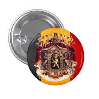 Belgian flag with coat or arm 3 cm round badge