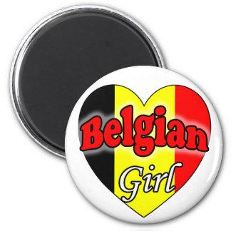 Belgian Girl 6 Cm Round Magnet