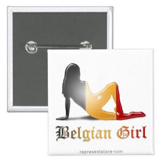 Belgian Girl Silhouette Flag 15 Cm Square Badge