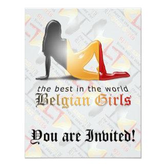 """Belgian Girl Silhouette Flag 4.25"""" X 5.5"""" Invitation Card"""