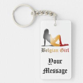 Belgian Girl Silhouette Flag Double-Sided Rectangular Acrylic Keychain