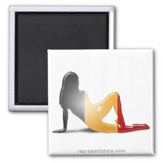 Belgian Girl Silhouette Flag Refrigerator Magnet