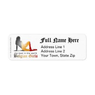 Belgian Girl Silhouette Flag Return Address Label