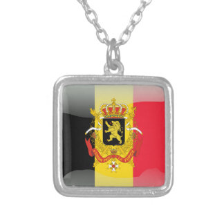 Belgian glossy flag silver plated necklace
