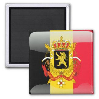 Belgian glossy flag square magnet