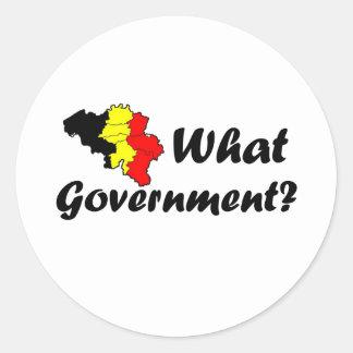 Belgian government round sticker