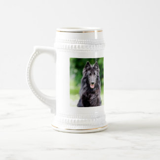 Belgian Groenendael dog, belgian shepherd photo Beer Stein
