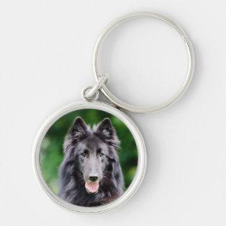 Belgian Groenendael dog, Belgian Shepherd photo Silver-Colored Round Key Ring