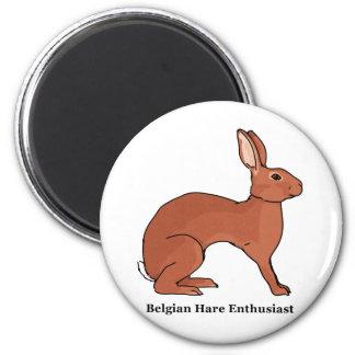 Belgian Hare Enthusiast 6 Cm Round Magnet