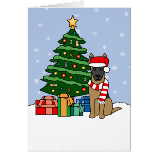 Belgian Malinois and Christmas Tree Card