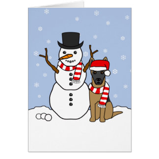 Belgian Malinois and Snowman Card
