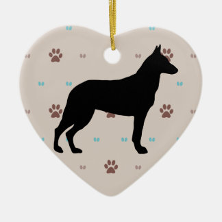 Belgian Malinois Double-Sided Heart Ceramic Christmas Ornament