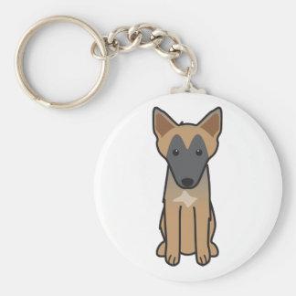 Belgian Malinois Dog Cartoon Key Ring