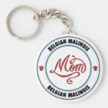 BELGIAN MALINOIS mum Basic Round Button Key Ring