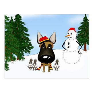 Belgian Malinois Winter Snow Postcard