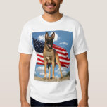 Belgian Malinois with Flag t-shirt