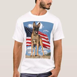 Belgian Malinois with Flag t-shirt