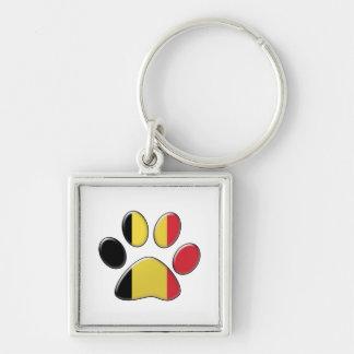 Belgian patriotic cat Silver-Colored square key ring