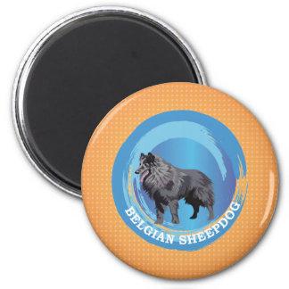 Belgian Sheepdog 6 Cm Round Magnet