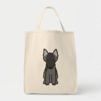 Belgian Sheepdog Dog Cartoon Grocery Tote Bag