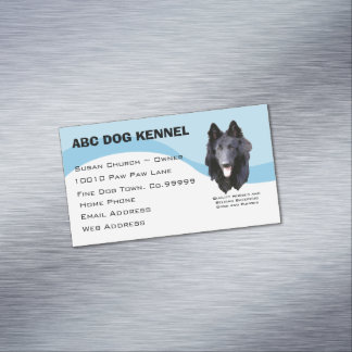 Belgian Sheepdog on Blue Swirl Magnetic Business Cards